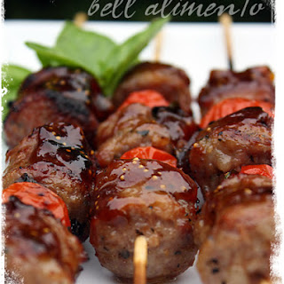 Sausage Kebabs Glazed with Balsamic and Fig Preserves.