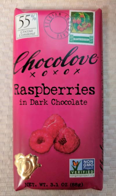 55% raspberry chocolove bar