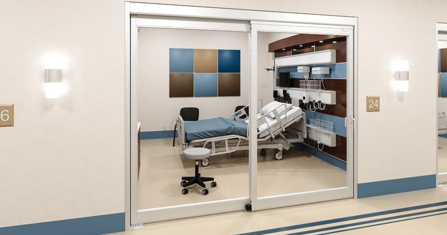 Một mẫu cửa kính tự động ở phòng bệnh nhân