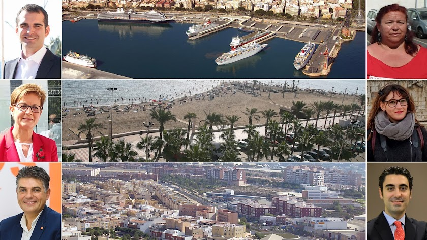 Los seis candidatos de la capital (PP, PSOE, Cs, IU, Podemos y Vox)  junto a vistas áreas de Almería
