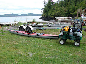Photo: My kayak and all my gear in a cart at the Scotia Bay campground near Port Hardy.