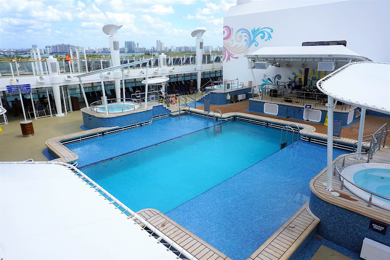 The main adults-only pool is in the center of the action on the main deck.