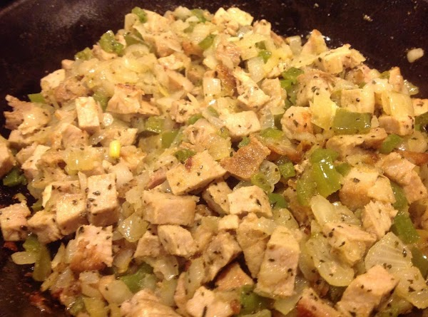 When the veggies are translucent add the cubed pork, and stir to mix together.