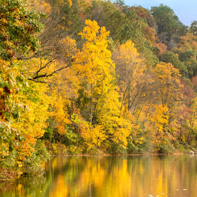 Antietam Dam in the Fall by Jerry Hoffman - Landscapes Waterscapes (  )
