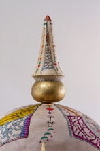 "Photo: Ed Karch & Beth Ireland 10"" x 8"" pickelhaube (detail) [holly, leather, gold paint, pen and ink]"