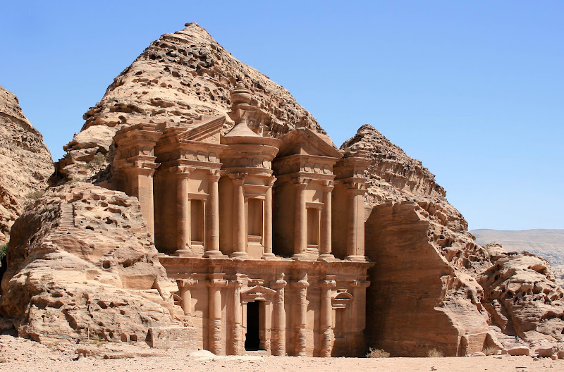 The Monastery, Ad Deir, is a grandiose building carved out of rock in the ancient Jordanian city of Petra.