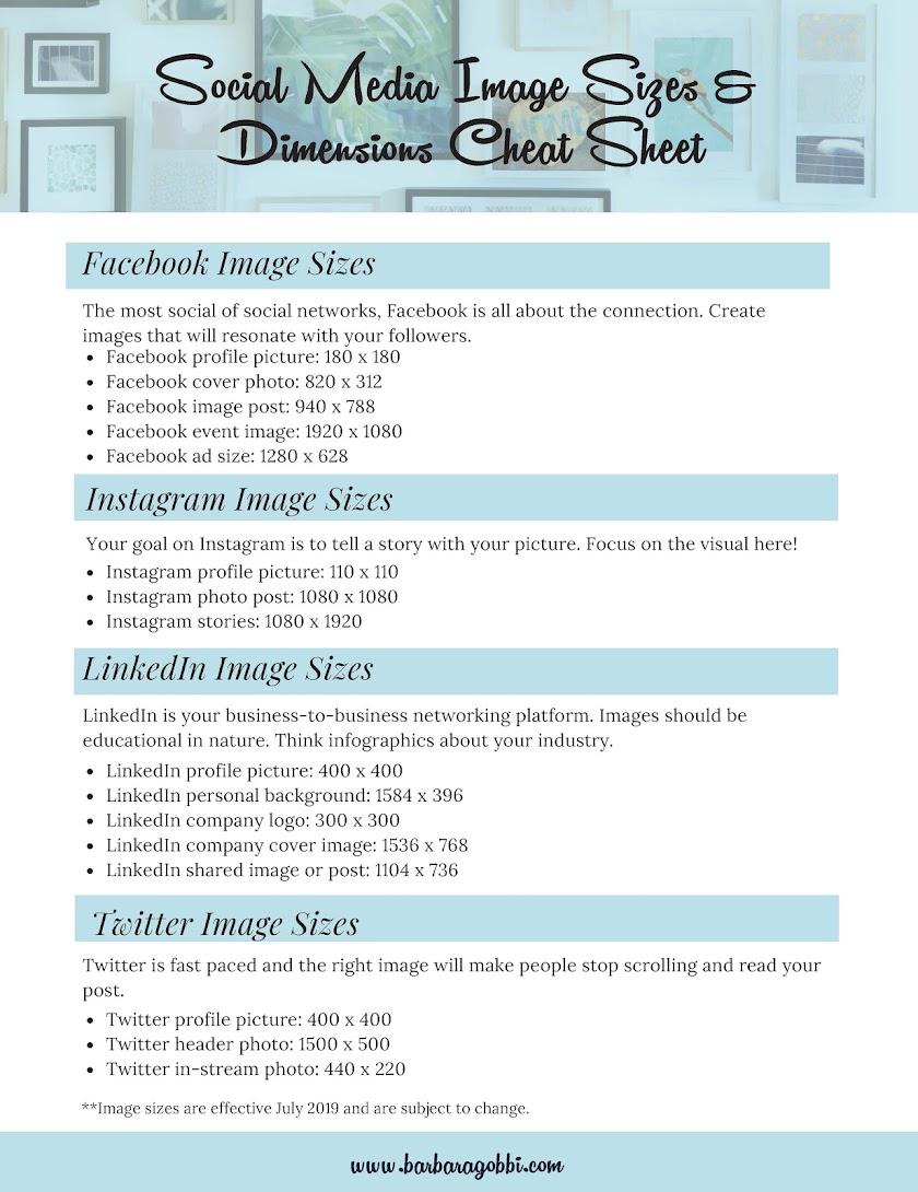 Social Media Image Sizes Cheat Sheet