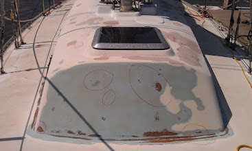 Photo: Continuing the fair the cabin trunk.  The red circles mark areas in need of filler
