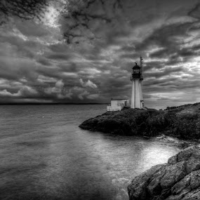 Sheringham Lighthouse by Don Guindon - Landscapes Waterscapes ( shore, b&w, canada, sheringham, sunset, vancouver island, lighthouse, victoria, ocean )