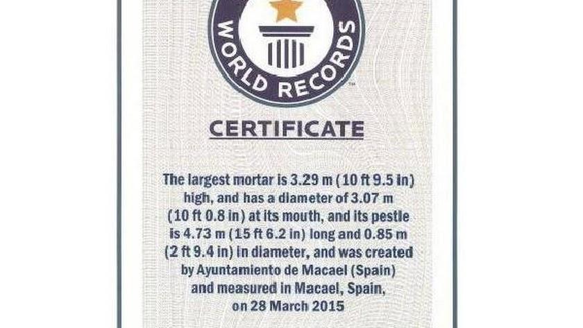 El certificado recibido por el Ayuntamiento.