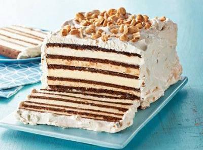 Arrange 4 ice cream sandwiches side by side on a 24 inch long sheet...