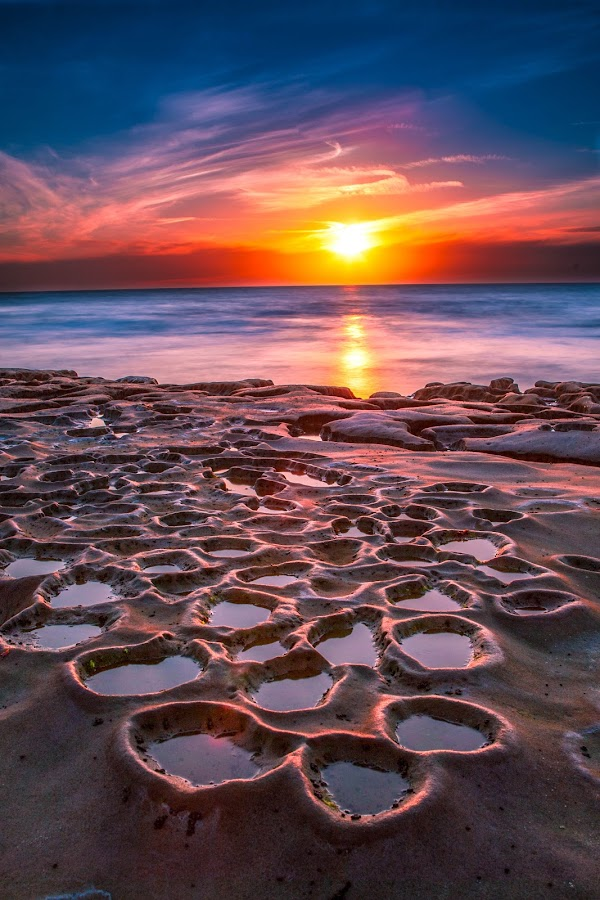 Planet Dusk by Mike Zampelli - Landscapes Sunsets & Sunrises ( tidepool, tranquil, san diego, relax, sunset, california, tranquility, relaxing, landscape, la jolla, pothole, coast, , mood factory, color, lighting, moods, colorful, light, bulbs, mood-lites )