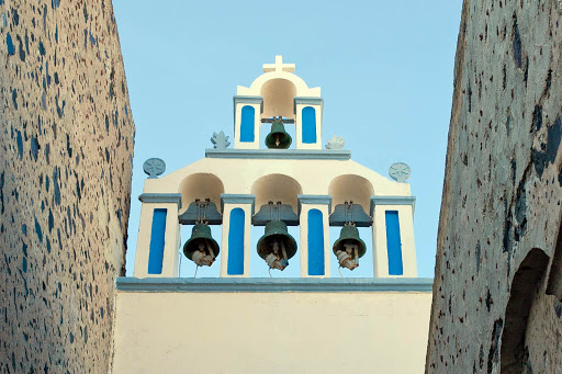 Fira-church-bells.jpg - Church bells spotted in Fira, the main port of Santorini, Greece.