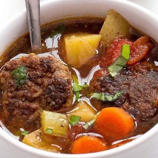 Italian Meatball and Potato Soup.