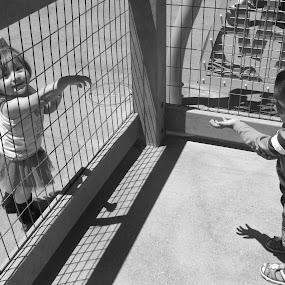 cute proposal.....  by Aarthi Siva - Black & White Portraits & People ( babies, park, street, black & white, cute babies )