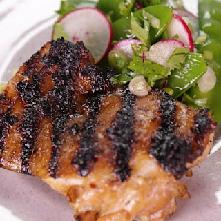 Grilled Chicken Thighs with Snow Pea Salad.