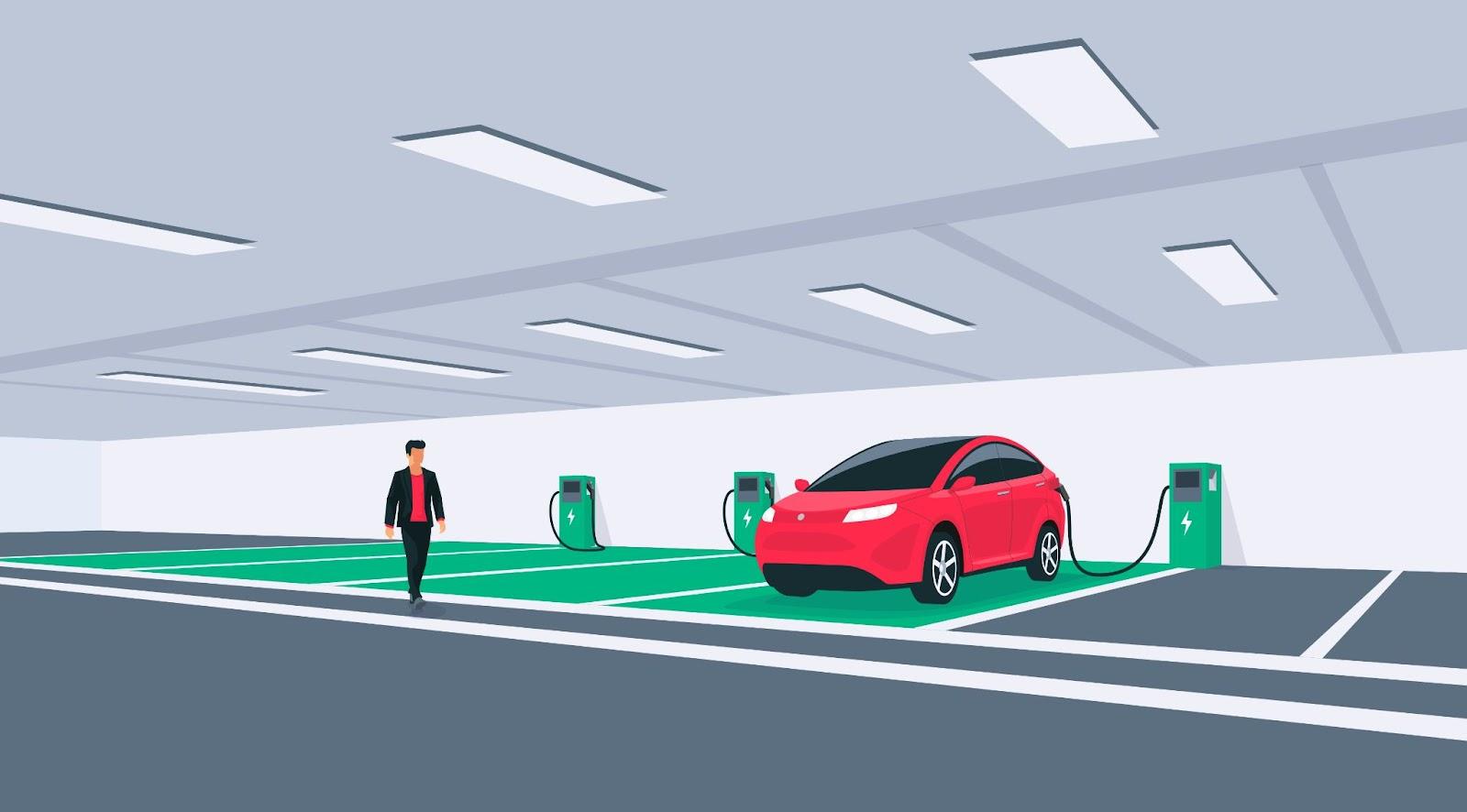 O mercado de estacionamentos subterrâneos já está voltado para o crescimento dos carros elétricos. (Fonte: Shutterstock)