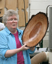 "Photo: As you can see from this beautiful bowl, Margaret is a very talented and experienced turner. She has sold a great many ""normal"" items over the years. Now she is having fun exploring some additional avenues."