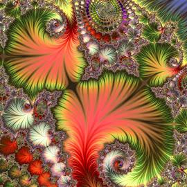 Leafs by Cassy 67 - Illustration Abstract & Patterns ( colorful, swirl, digital art, fractal art, spiral, leaf, fractal, fractals, digital )