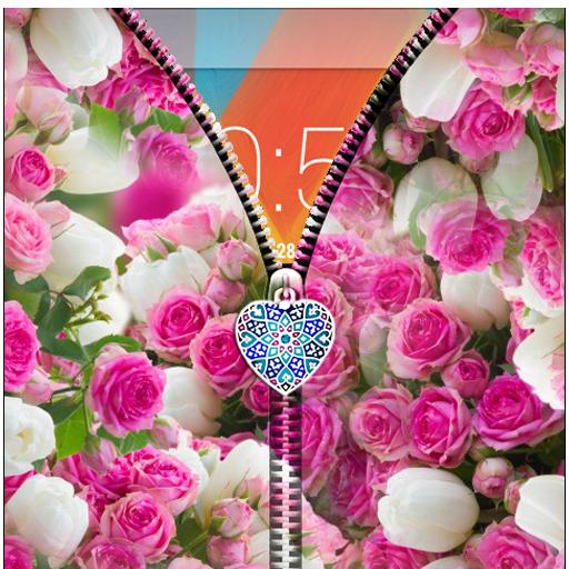 Pink Roses Zipper Lock