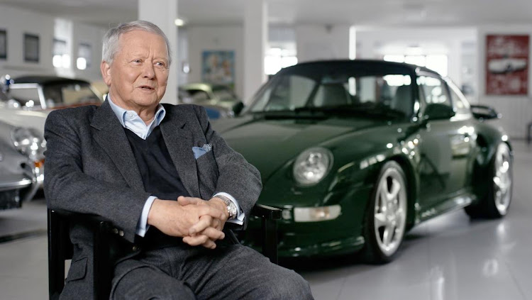 Wolfgang Porsche and the iconic 911 Turbo. Picture: PORSCHE