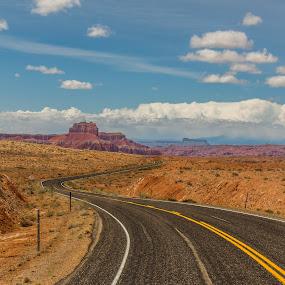 Winding Desert Road by Dallas Golden - Landscapes Deserts ( clouds, mountain, desert, utah, road )