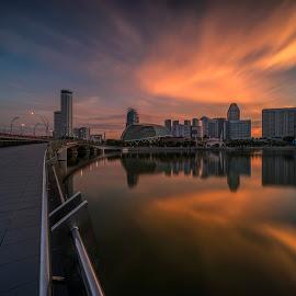 by Gordon Koh - City,  Street & Park  Vistas ( singapore river, sunrise, reflection, city, asia, skyline, singapore flyer, singapore, urban, buildings, marina bay sands, cityscape, river, bridge, travel, esplanade, mbs )