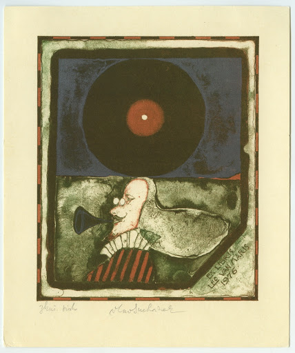 "038. Bookplate. LEO VAN MARIS. ""1976."" Men´s head, gramophone record."