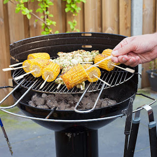Barbecued Corn On The Cob With Garlic Butter.