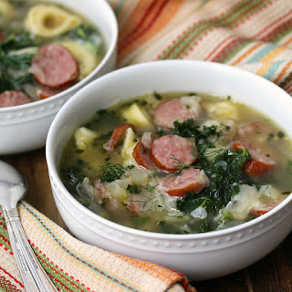 Cheese Tortellini Soup with Kielbasa, Kale, and Cannellini
