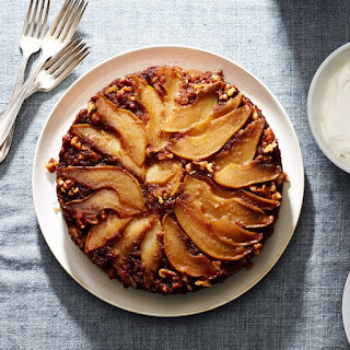 Pear and Walnut Upside-Down Cake with Whipped Crème Fraîche