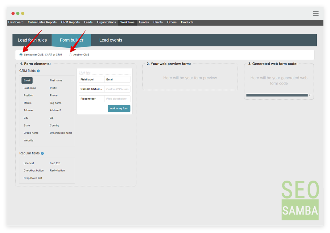 eoToaster CRM free web form builder