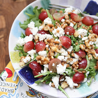 Wheat Berry and Arugula Salad with Grapes and Nuts.