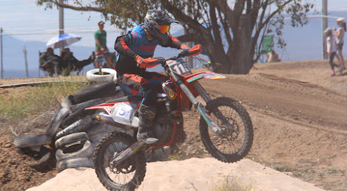 Hayden McDougall in action on Sunday at the Newtown Park track at the Narrrabri Dirt Bike Club's charity day enduro ride for the Westpac Rescue Helicopter. McDougall finished first in senior lites and iron man all powers.