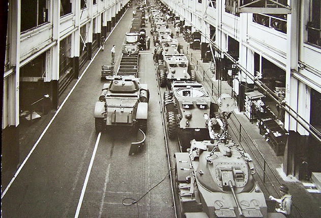Chevrolet builds T-17 Staghound armored scout cars in Flint, Mich., during World War II. Chevy built 3,800 Staghounds, most with the 37 mm cannons shown here, between October 1942 and April 1944.