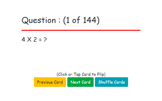 Flash Cards : Multiplication Facts