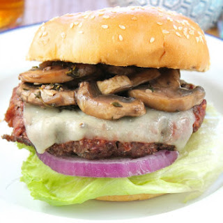 Gourmet Burgers with Red Wine Braised Mushrooms.