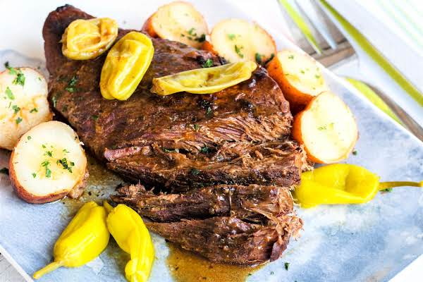 Crock Pot London Broil With Potatoes.