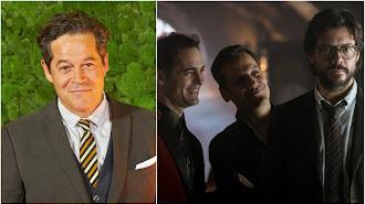 Jorge Sanz y los actores Pedro Alonso, Rodrigo de la Serna y Álvaro Morte en La Casa de Papel.