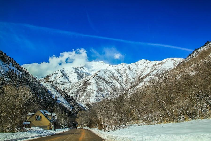 Mountains of Utah by Alexander Marinenko - Landscapes Mountains & Hills ( countryside, clouds, mountains, winter, season, utah, blue, snow, white, blue skies, clouds upon mountains, skies )