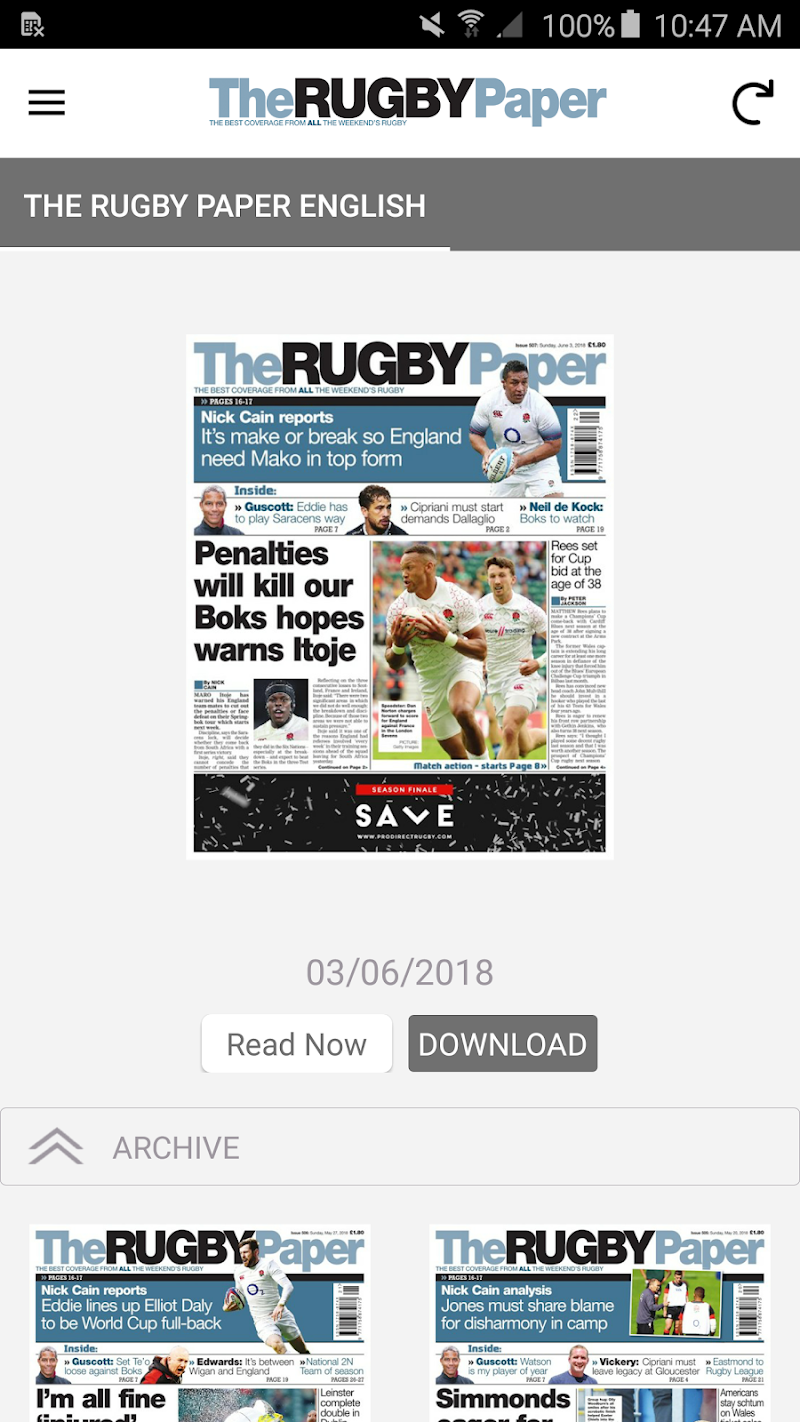 Скриншот The Rugby Paper, English Ed.