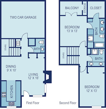 Go to Two Bed, Two Bath B Floorplan page.