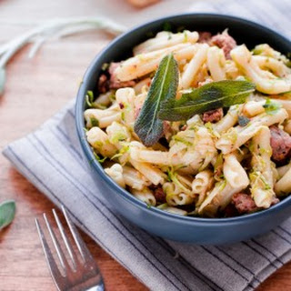 Strozzapreti with Pork Sausage, Shaved Brussel Sprouts, and Sage
