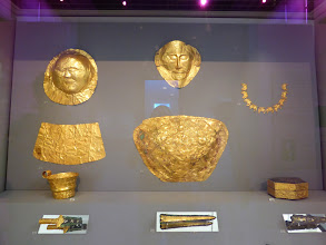 Photo: Gold from Mycenae, including the Mask of Agamemnon (the Greek king during the Trojan Wars) .