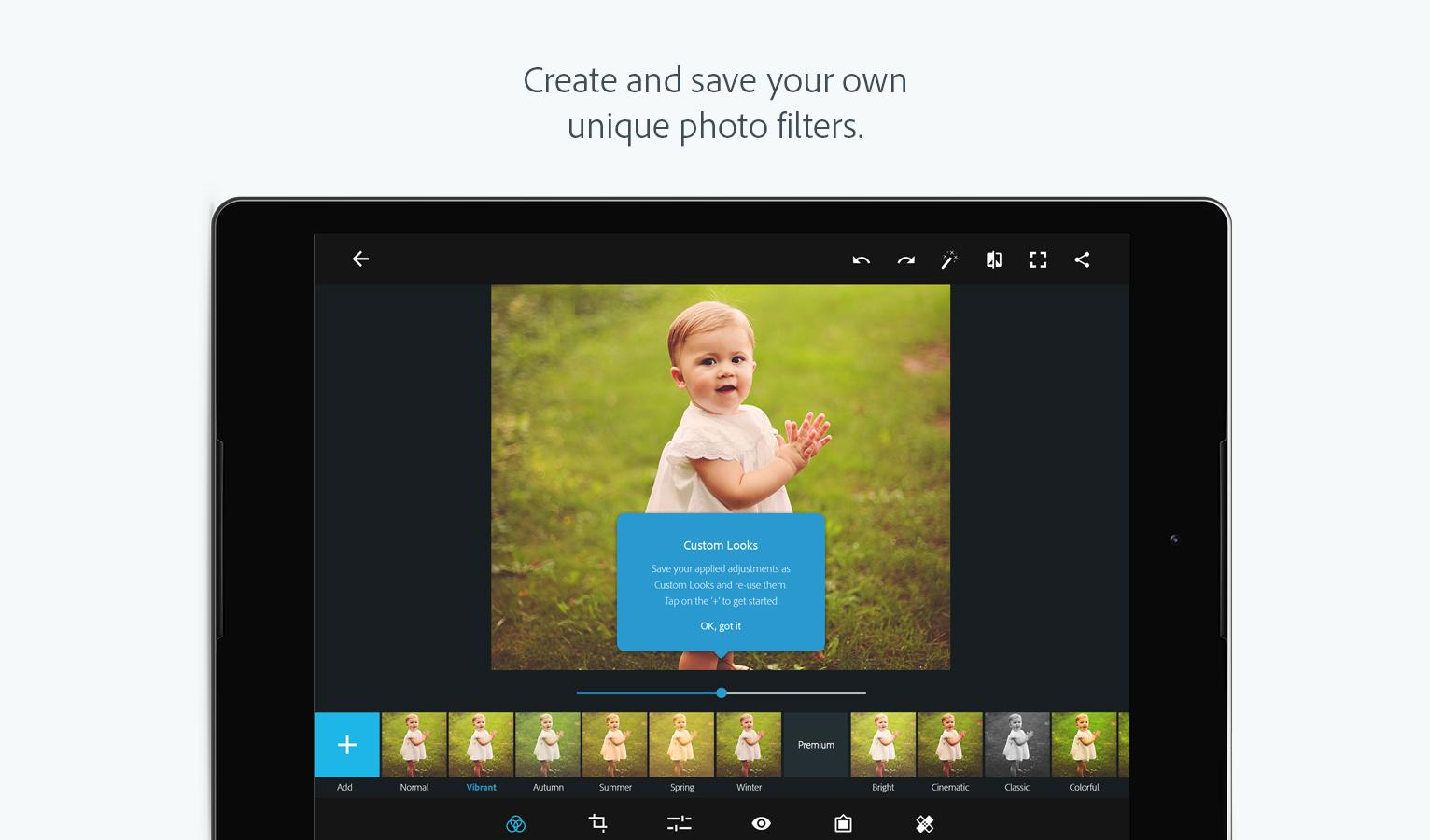 Adobe Photoshop Express is a free mobile app for making quick, powerful, and easy photo edits and creating collages. Apply instant filters called Looks, choose from an array of adjustment and correction options to touch up your photos, and instantly share them on social media.
