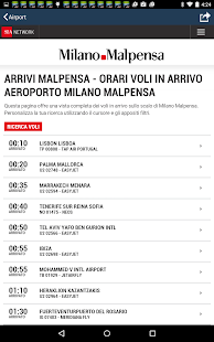 Milan Malpensa Airport MXP Flight Tracker- screenshot thumbnail