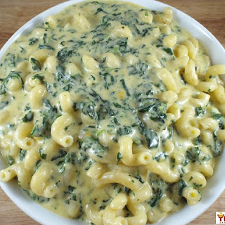 Creamy Macaroni and Cheese with Spinach.