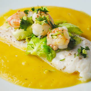 Steamed Sole with Butternut Squash Sauce and Rock Shrimp.