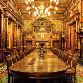 The Dining Room by Valics Lehel - Buildings & Architecture Public & Historical ( dining room, large hall, castle, big room, palace,  )