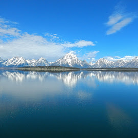 The Tetons by Santford Overton - Landscapes Mountains & Hills ( clouds, mountains, sky, nature, blue, snow, reflections, lake, landscape, landscapes,  )